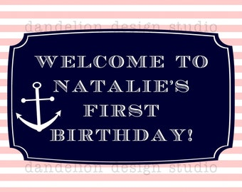PRINTABLE Welcome Sign - Pink & Navy Nautical Party Collection - Dandelion Design Studio