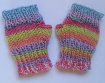 Fingerless baby girl mittens wristwarmers gloves - pastel stripes pink blue lemon lilac- hand knit - sherbet candy merino wool - autumn fall