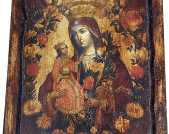 VIRGIN MARY - The Unwithering Rose - Orthodox icon on wood handmade (22.5cm x 17cm)