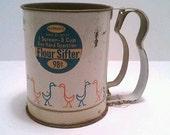 SALE White Vintage Flour Sifter 1 screen 3 cup measure Metal Ducks Blue Orange with Original Label