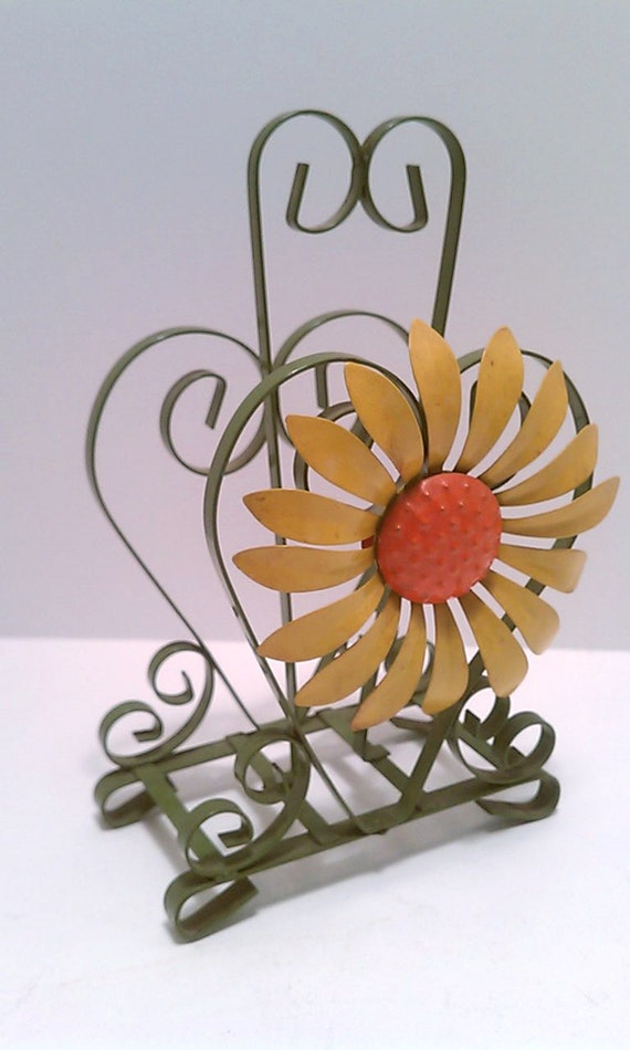 Sunflower Table Napkin Holder Quilled Scroll Metal Wire Yellow Green Vintage Retro Heart Letter Holder Desk Accessory