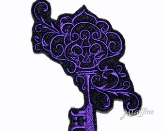 Purple Skeleton Key Filigree Goth Iron On Embroidery Patch MTCoffinz