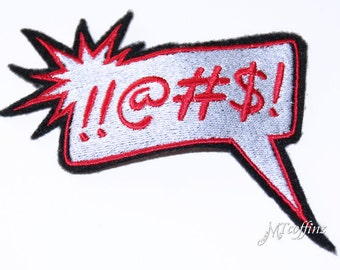 Comic Book Words Fight Cursing Iron On Embroidery Patch MTCoffinz (Silver or Red)