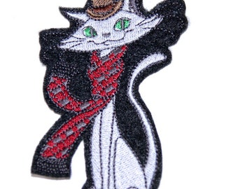 Retro Cool Cat with Scarf and Fedor a Iron On Embroidery Patch    Fezzes Are Cool Cat