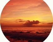 Red waves -  Red Sky red sea Lovely Autumn sky harvest colorful warm colors wall decal sky for her Fine Art Print 8x8