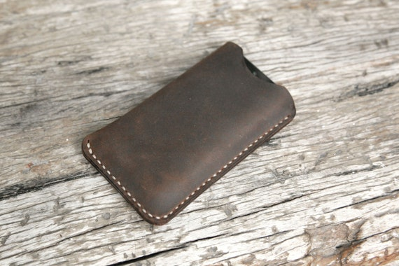 GRAMS28 / iPhone 5 5s 5c leather sleeve case, hand stitched - Deep Brown