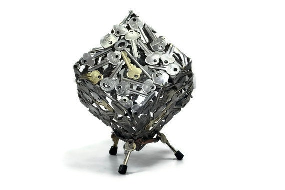 Key Cube sculpture, Metal sculpture ornament