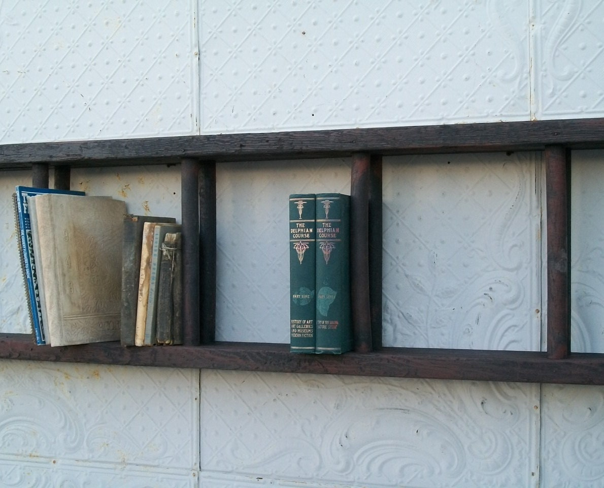 Antique wood double ladder mounted for book shelves or display - Reclaimed wood ladder shelf ...