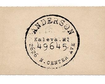 Custom Address Stamp, Round Return Address Stamp, Antique Postage, Wedding Rubber Stamp, Wooden Handled, Kaleva