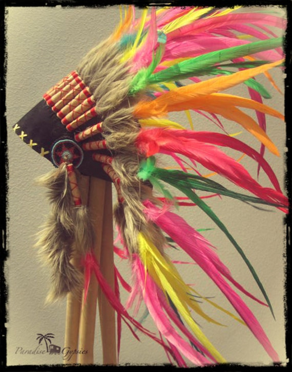 Summer Rainbow Headdress - Red, Yellow, Orange, Turquoise & Green Feather American Indian Headpiece - Red Side Feathers
