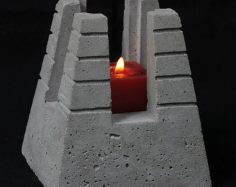 Cement Candle Holder, Pyramid 1