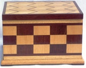 Handmade wooden keepsakes box - with chevron and checker detailing