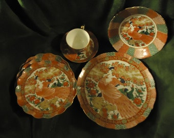 Asian Red and Green Dessert Set with Red bir6