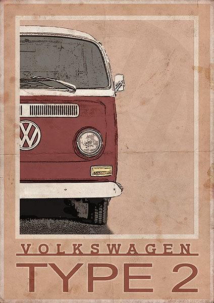 Volkswagen Type 2 Bay Window Van / Bus Vintage Style Poster