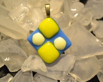 Sale Now only 5.00 Blue and yellow fused Glass pendant