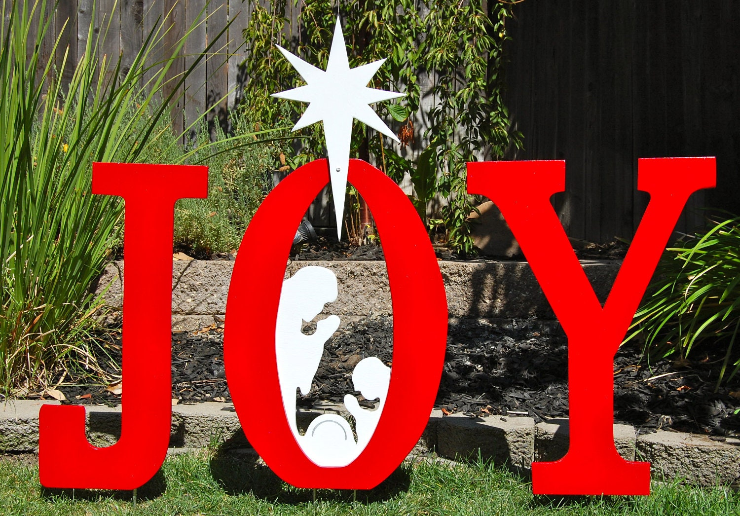 nativity joy christmas sign for the yard by ivyswoodcreations