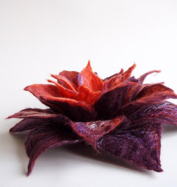 Felted Flower Brooch, Hand Felted Jewelry, Flower Pin, Purple Orange  Flower, Water lily