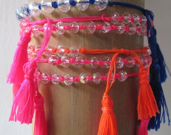Neon Bright Crystal Bracelet with tassels- Stackable Trendy Fashion Bright Fluorescent