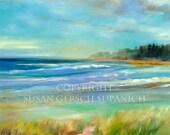 """Art Print  """"Michigan Lakeshore"""" colorful  landscape painting shoreline 11 x 14 -  Susan Gersch Supanich"""