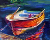 "Art Print  ""Reflection"" colorful red boat painting 11 x 14 waterscape -  Susan Gersch Supanich"