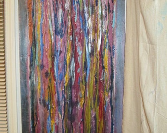 Memory is a  original 22 x 48 inch abstract acrylic on plywood with heavy texture and amazing color