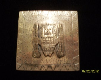 Vintage Hand-Made Mexican Silver Square Brooch with Deity Icon, ca. 1950