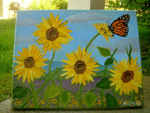Butterfly Field Original Painting on Canvas