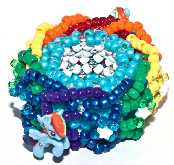 Rainbow Dash 3D Kandi Rave Cuff