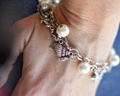 Sea Life Charm Bracelet w/ Faux Pearls, Conch Shells, Sea Horses, Star Fish and Dolphin Charms