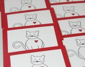 Childrens Valentines Cards Cat in Mini Size Set of Twelve, Kids Valentine's Day Cards, Classroom Valentine Card Set