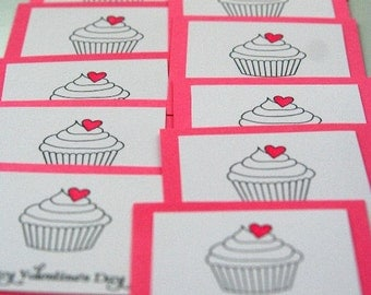Mini Valentine Cards for Kids Stamped Valentine in Pink Set of Twelve, Cupcake Valentine Mini Cards, Classroom Valentine's Day Cards