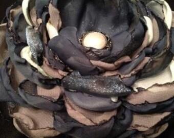 Shades of Blue Chiffon Fabric Flower Hair Barrette, Handmade Fabric Flower