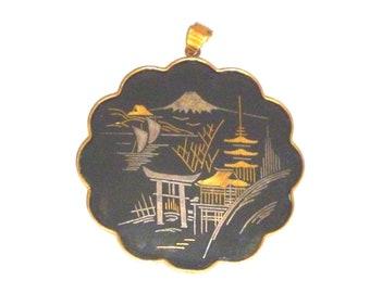 Vintage Japanese Damascene Pendent by  Amita Flower Shape Gold  Black
