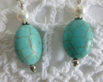Turquoise and Freshwater Pearls Earrings