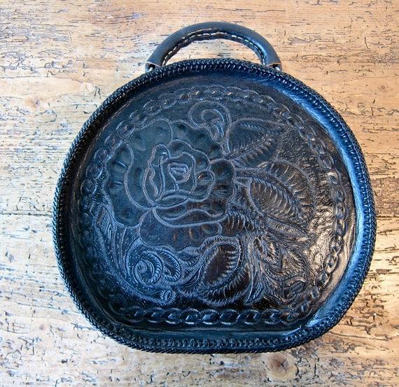 "Handmade, Hand Tooled, Hatbox Handbag, One-of-a-kind ""Black Rose"""