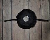 Black Ella Flower Headband