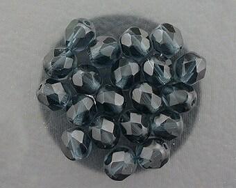 20 montana blue czech fire crystal faceted beads 6mm