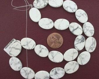 18x13 oval gemstone white howlite beads