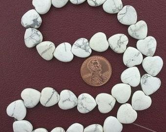 12mm heart gemstone white howlite beads