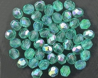 25 teal  ab czech fire crystal beads 4mm