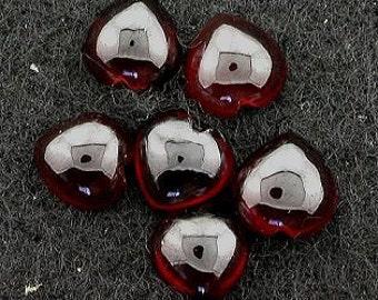 four 6.5mm to 7mm garnet heart cabochon gemstone gem