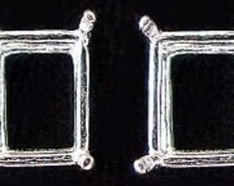 sterling silver pair 9x7 octagon earring gem mounting