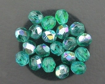 20 teal ab czech fire crystal faceted beads 6mm