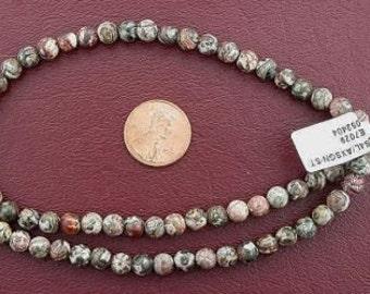 6mm round gemstone leopardskin jasper beads