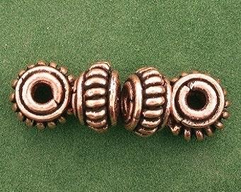four copper 10x5 bumpy rondelle casted designer bead