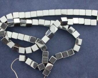 4.5mm cube hematite bead strand gem stone gemstone