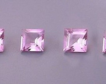 two -  5mm square amethyst gem stone gemstone facet