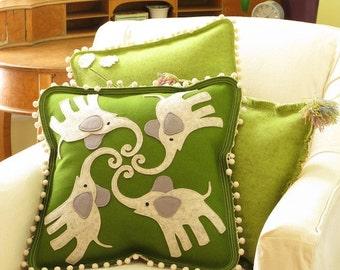Dancing Elephant Pillow in Green, Grey & White Felt with Pom Pom Fringe, Decorative Pillow