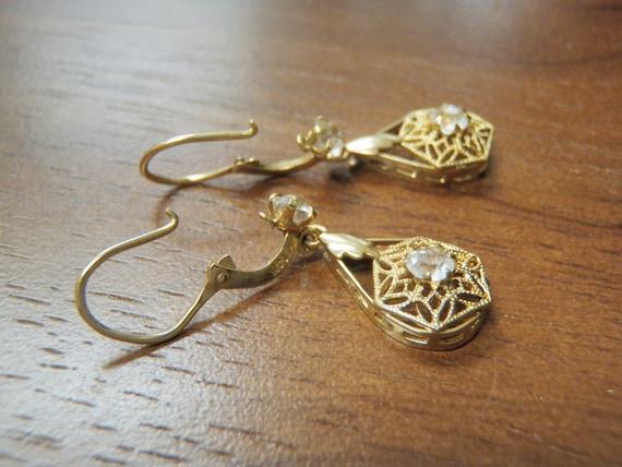 RESERVED - SUZETTE Dangle Filigree Hook Clip Cubic Zirconia CZ Pierced Earrings 14K Gold