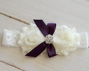 Ivory and Plum Headband with Chiffon Flowers, Rhinestone Center on lace Headband